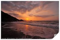 Sunrise on Looe Beach in South East Cornwall, Print