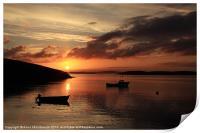 Sunset And Boats At Trondra, Print