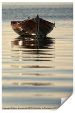 Small Boat Reflecting At Moorings, Print
