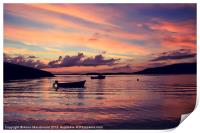 Small Boats In Shetland Sunset, Print