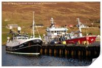 Fishing Boats Blacksness Pier, Scalloway, Shetland, Print