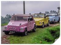 Hillside Vehicles in Bali, Print