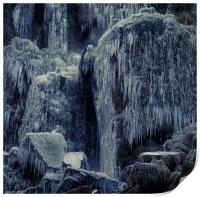 Frozen rocks and icicles, Print