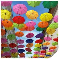 Roof of umbrellas, Print