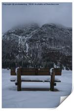 Lone Bench At Lago del Predil Italy, Print