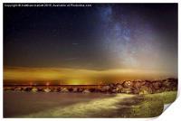 Lights Of Milky Way Over Gunfleet Windfarm 2, Print