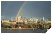 Rainbow over St Paul's Cathedral, London, Print