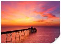 Clevedon Pier, UK, Sunset colours, Print
