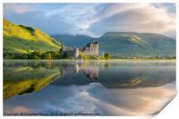 Dawn at Kilchurn castle, Loch Awe, Scotland, UK, Print
