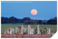 Super Blue Blood Moon is seen rising over Stonehen, Print