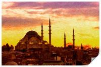 Suleiman Mosque Digital Painting, Print