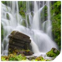 Artificial Waterfall in the mountain park Wilhelms, Print