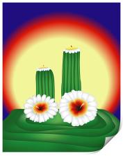 Blooming Cactuses in Sunset, Print