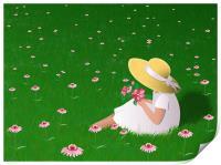 Girl In Grass, Print