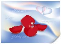 Engagement Ring In Rose Petals, Print