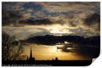 Dramatic sky over Norwich Cathedral, Print