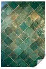 Blue Green Moroccan Tile Pattern, Print