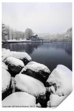It's snowning over the lake, Print