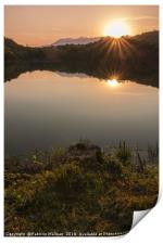 The sunset over the lake, Print