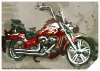 Red Chopper Motorbike, Watercolour oil grunge, Print