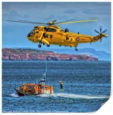 RNLI and RAF Rescue demonstration at Dawlish Airsh, Print