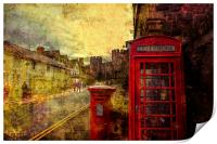 A Red Pillar Box and Telephone Booth on Castle St, Print