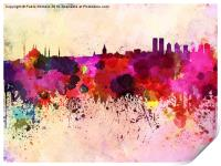 Istanbul skyline in watercolor background, Print