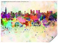 Tel Aviv skyline in watercolor background, Print