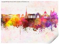 Saint Petersburg skyline in watercolor background, Print