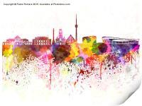 Stuttgart skyline in watercolor background, Print