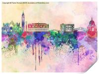 Venice skyline in watercolor background, Print