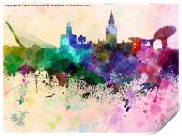 Seville skyline in watercolor background, Print