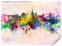 Turin skyline in watercolor background, Print