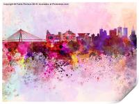 Warsaw skyline in watercolor background, Print