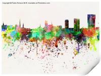 Zurich skyline in watercolor background, Print