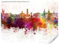 Aberdeen skyline in watercolor background, Print