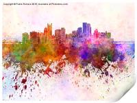 Pittsburgh skyline in watercolor background, Print