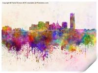 Oklahoma City skyline in watercolor background, Print