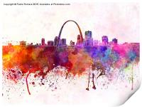 St Louis skyline in watercolor background, Print