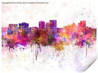 El Paso skyline in watercolor background, Print