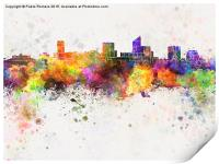 Wichita skyline in watercolor background, Print