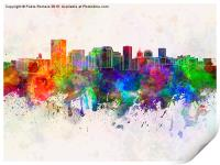Richmond skyline in watercolor background, Print