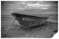 Boat on the beach - B&W, Print