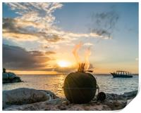 Sunset at Coral estate Curacao views , Print