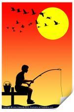 Childhood dreams, Fishing, Print