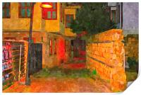 cobbled back streets of Kaleici in Antalya Turkey, Print