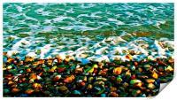 Colorful Pebbles on the seashore , Print