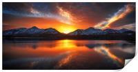 Burning Skies Over Derwent Water, Print
