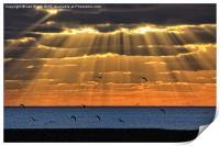 Worthing Beach Sun Rays, Print