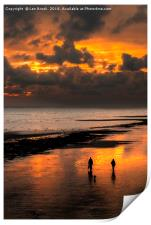 Sunset walkers on Worthing Beach, Print